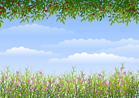Background, Flowers, Sky, Border, Berries, Clouds