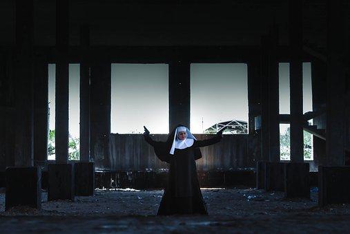 Girl, Portrait, Nun, Gun, War, Idea, Construction