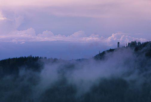 Mountain, Sunset, Silhouette, Fog, Clouds, Summit