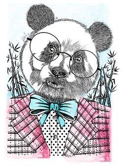 Panda, Suit, Portrait, Glasses, Bow Tie, Bear, Animal
