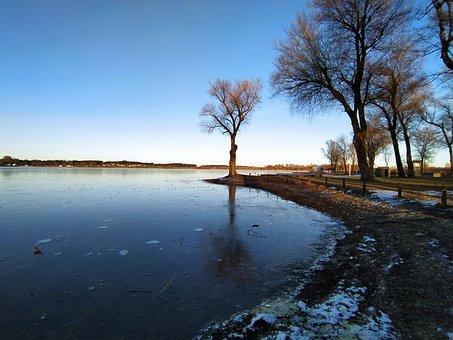 Winter, Ice, Lake, Chiemsee
