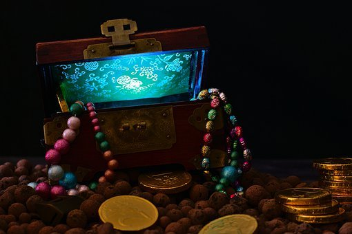 Treasure Chest, Gold Coins, Pearl Necklace, Chest, Box