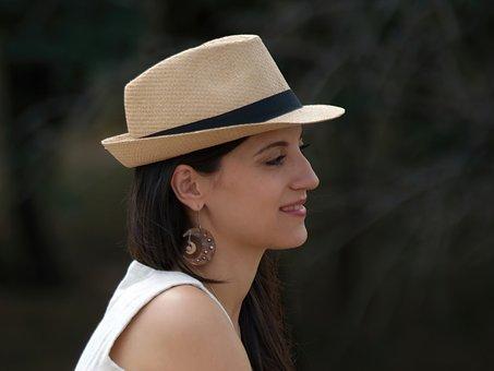 Girl, Hat, Profile, Portrait, Young Woman, Model