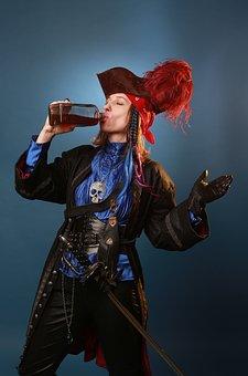 Pirate, Drink, Sword, Captain, Weapons, Hat, Bandit