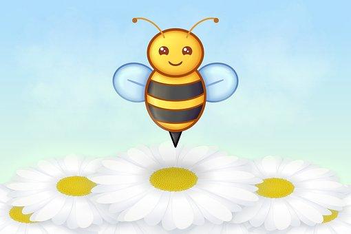 Bee, Insect, Flowers, Margaritas, Smile, Kawaii, Animal