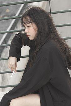 Girl, Cigarette, Model, Portrait, Fashion, Smoking