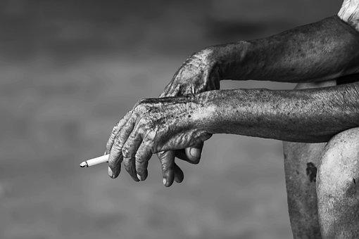Man, Cigarette, Smoker, Smoking, Wrinkled Skin