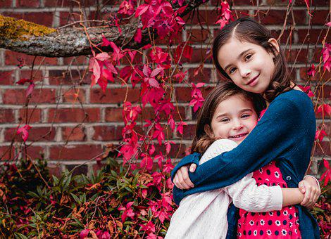 Sisters, Hug, Love, Friends, Girls, Kids, Children