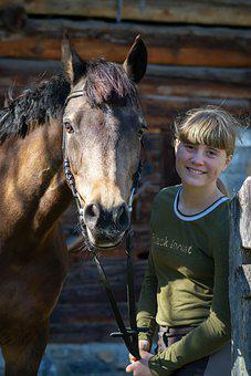 Horse, Pony, Girl, Young, Woman, Smile, Happy, Together