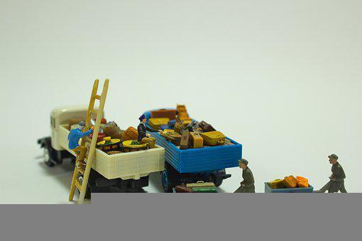 Truck, Wagon, Transport, Luggage, Worker, Load