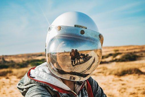 Helmet, Rider, Desert, Reflection, Adventure, Travel