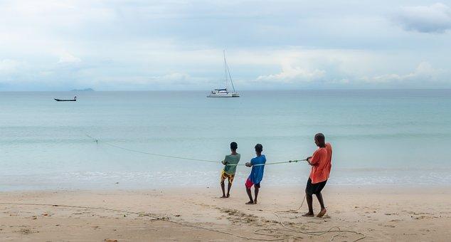 Fisherman, Sea, Fishing, Rope, Fishing Boat, Boat, Fish