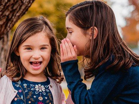 Sisters, Secret, Whisper, Kids, Children, Girls, Young