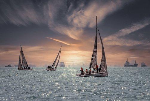 Sailboat, Sea, Sailing, Sport, City, Water, Summer