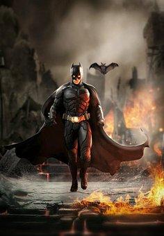 Batman, Superhero, Fire, Walking, Fighting, Burning