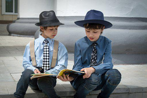 Boys, Book, Reading, Reading A Book, Kids, Little Boys