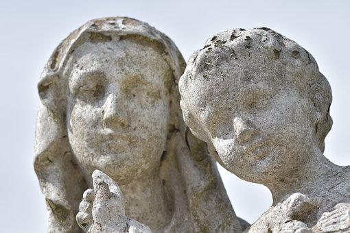 Statue, Holy Virgin Mary, Child Jesus, Sculpture