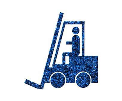 Forklift, Industrial Truck, Blue, Glitter