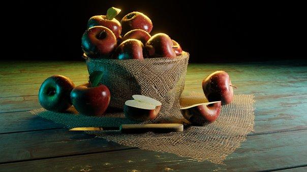 Apples, Basket, Knife, Red Apples, Harvest, Produce