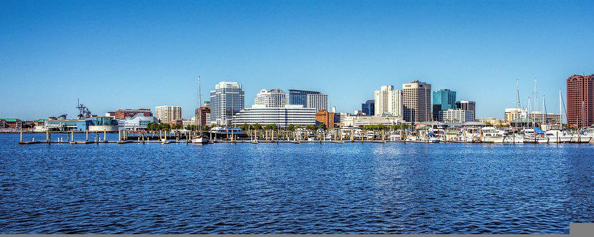 Norfolk, City, River, Panorama, Bay, Water, Pier, Dock