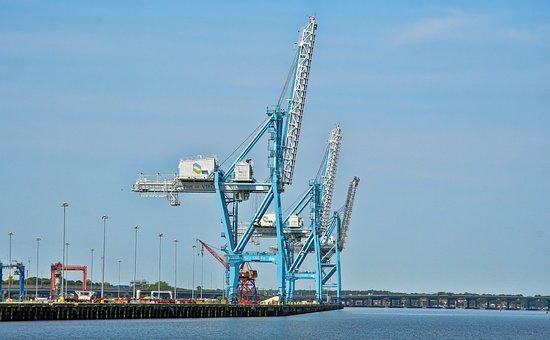 Cranes, Port, Norfolk, Docks, Freight, Shipping