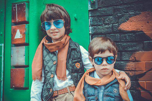 Kids, Fashion, Scarf, Portrait, Sunglasses, Friends