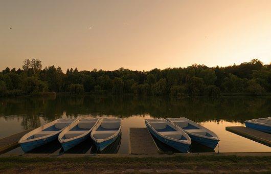Landscape, Sunset, Nature, Lake, Boats, Water, Trees
