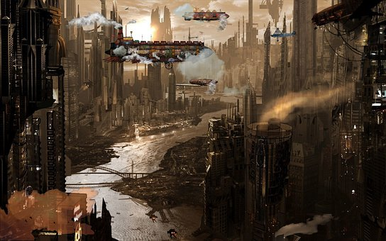 City, Air Ships, Steampunk, River, Clouds, Skyline