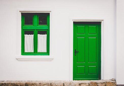 Door, Green, House, Home, Window, Architecture