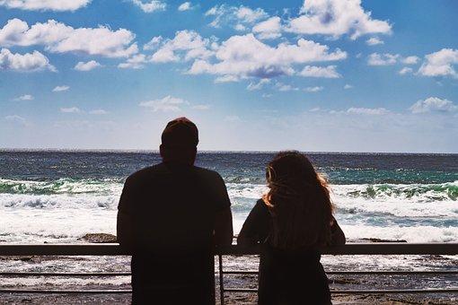 Beach, Couple, Sea, Sky, Ocean, Waves, Ocean Waves, Man
