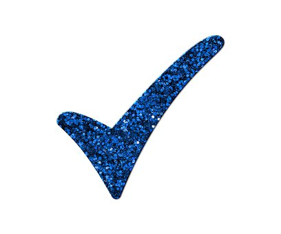 Check Mark, Yes, Right, Okay, Glitter, Blue, Symbol