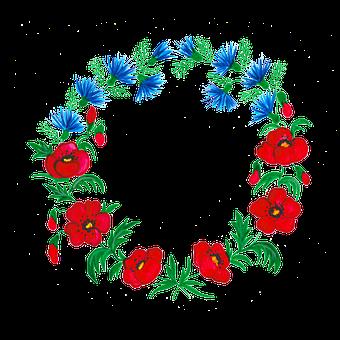 Red Weed, Poppy, Poppyhead, Cornflower, Watercolor
