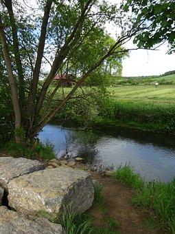 River, Landscape, Idyll, Creek, Trees, Stones, Bach