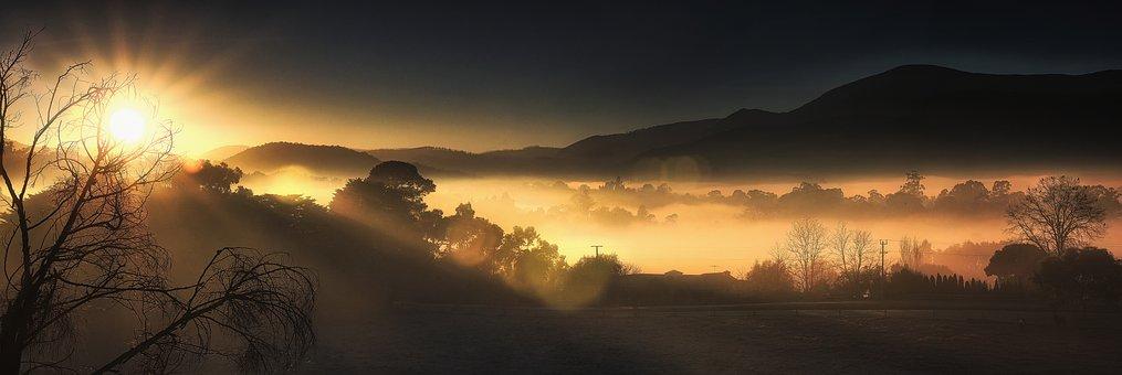 Sunrise, Mountain, Nature, Sky, Mountains, Clouds