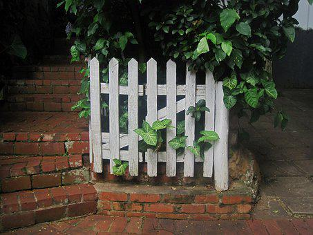 White Picket Fence, Wooden, Wooden Fence, Picket Fence