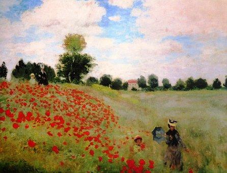 Painting, Claude Monet, Klatschmohn, Argenteuil