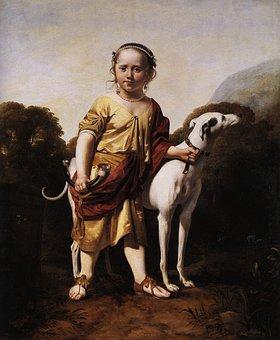 Caesar Van Everdingen, Boy, Dog, Child, Outside, Art