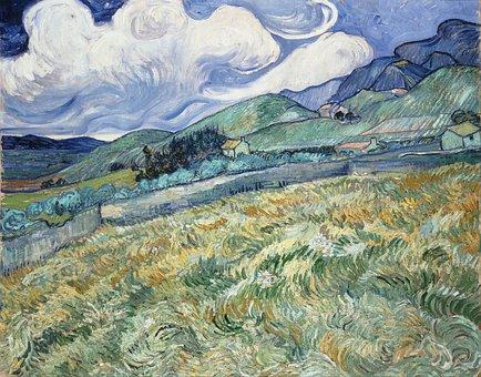 Vincent Van Gogh, Mountains, Houses, Fields, Art