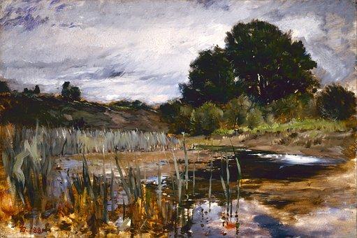 Frank Duceneck, Painting, Art, Oil On Canvas Landscape