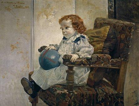 Joaquin Sorolla, Child, Girl, Chair, Art, Painting