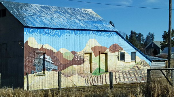 Painted, Barn, Colorful, Building, Wall, Agriculture