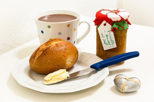 Breakfast, Roll, Jam, Cup, Knife, Butter, Cocoa, Eat