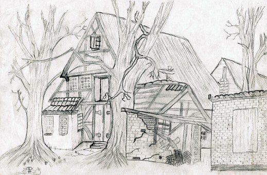 Drawing, Pencil Drawing, Home, Hand Drawn Sketch