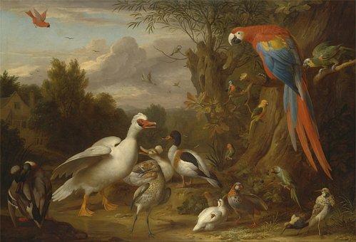 Jacob Bogdani, Art, Painting, Oil On Canvas, Ducks