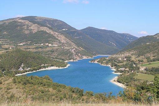 Fiastra, Landscape, Vista, Italy, Lake