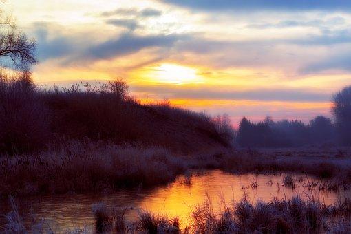 Dream, Frost, Water, Ice, Frozen, Sky, Blue, Orange