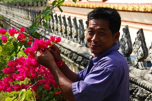 Gardener, Flower, Garden, Temple, Bloom, Nature