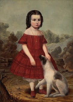 John Hegler, Girl, Child, Female, Dog, Outside, Art