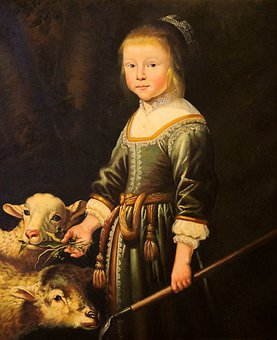 Painting, Art, Oil On Canvas, Girl With Sheep
