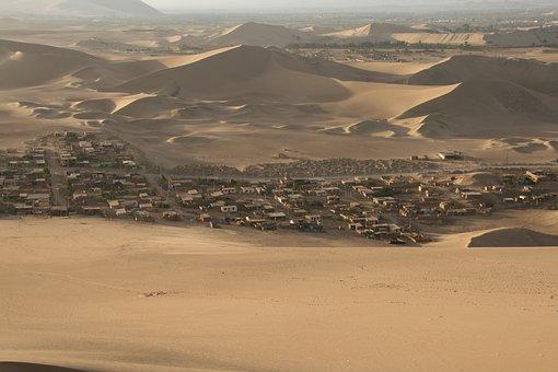 Desert, Village, Dune, Sand, Landscape, Houses, Housing